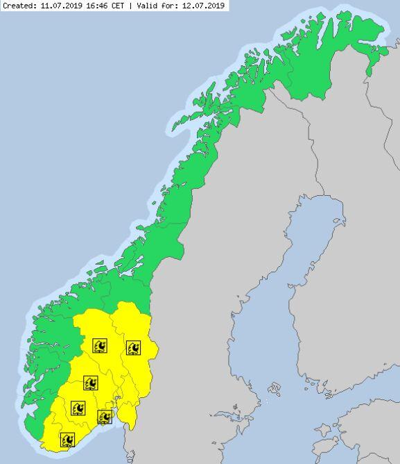 Ostrzeżenia meteorologiczne dla Norwegii na piątek (meteoalarm.eu)