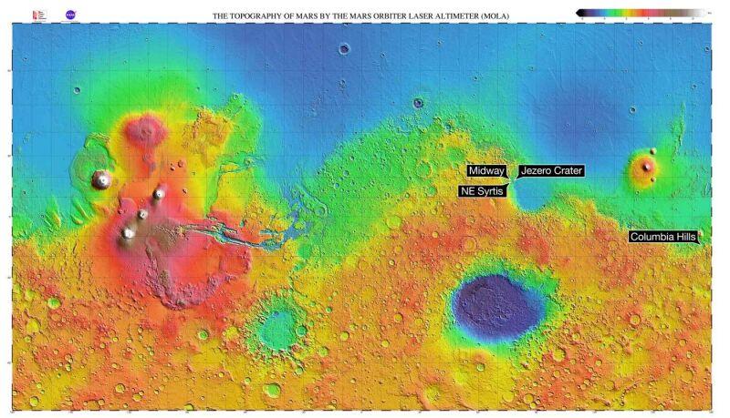 Topografia Marsa (NASA/MGS/MOLA Science Team)