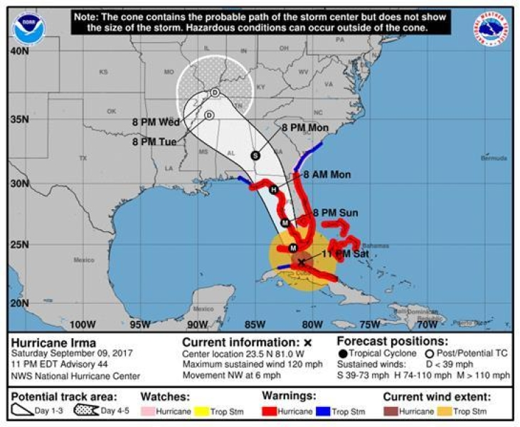 Zagrożone rejony Florydy