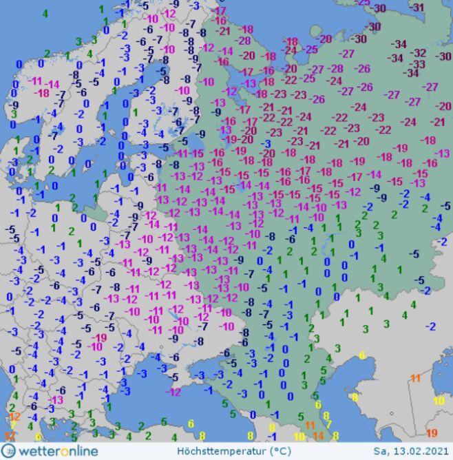 Temperatura maksymalna w sobotę w Rosji (wetteronline.de)