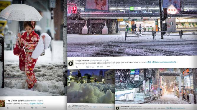 Chaos na ulicach Tokio. Spadło 6 cm śniegu